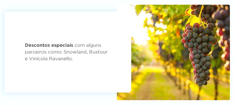 Descontos especiais com alguns parceiros como: Snowland, Bustour e Vinícola Ravanello.